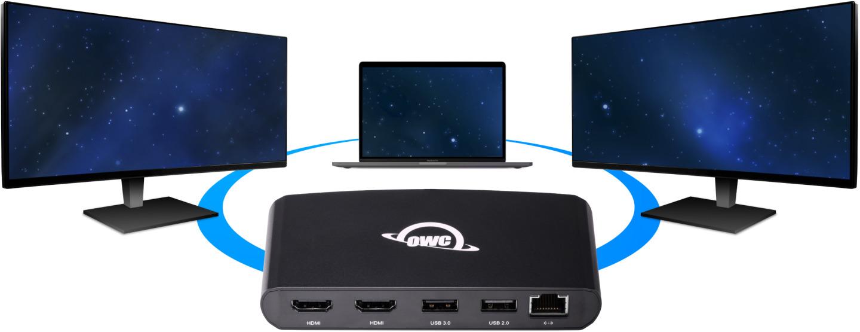 OWC Thunderbolt 3 mini Dock met ondersteuning voor twee schermen